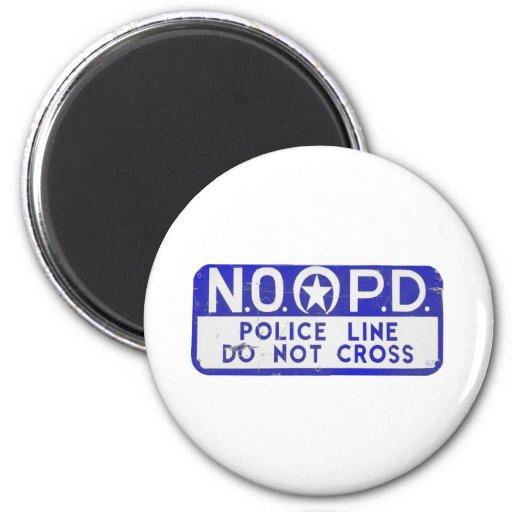 New Orleans NOPD Police Line Sign - Blue 2 Inch Round Magnet