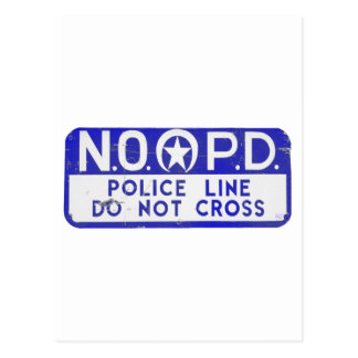New Orleans NOPD Police Line Sign - Blue Postcard