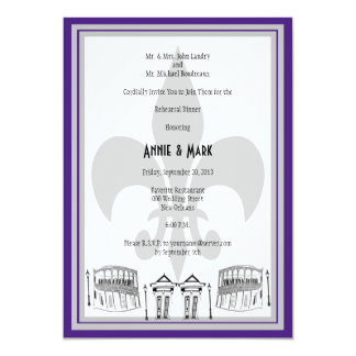 New Orleans Rehearsal Dinner Invite purple silver