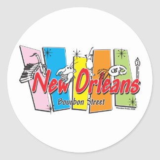 New-Orleans-Retro Classic Round Sticker