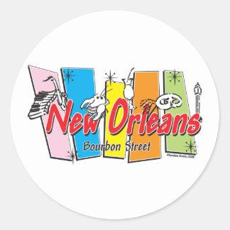 New-Orleans-Retro Round Stickers