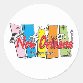 New-Orleans-Retro Round Sticker