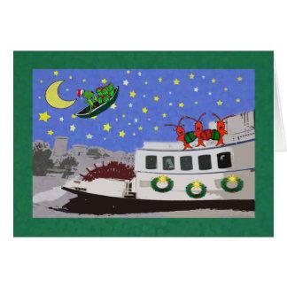 New Orleans River Boat Crawfish Alligator Xmas Card
