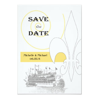 New Orleans Riverboat Fleur de Lis Save the Date Card