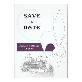 New Orleans Riverboat Fleur de Lis Save the Date 5x7 Paper Invitation Card
