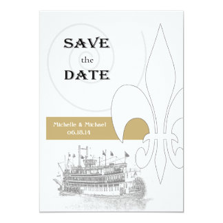 New Orleans Riverboat Fleur de Lis Save the Date Invite