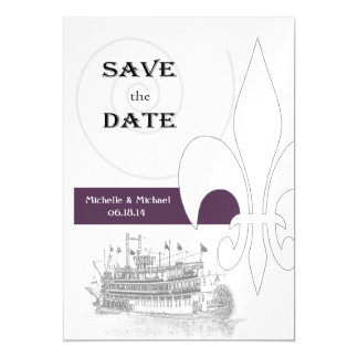 New Orleans Riverboat Save the Date Purple Magnetic Card