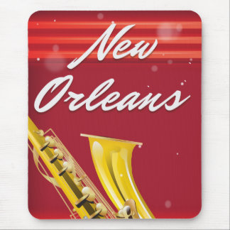 New Orleans Saxophone travel poster Mouse Pad