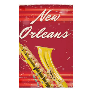 New Orleans Saxophone travel poster. Stationery