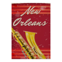 New Orleans Saxophone travel poster worn edition