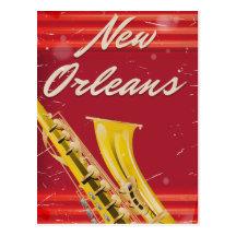 New Orleans Saxophone travel poster worn edition Postcard