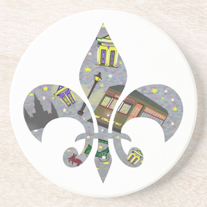 New Orleans Scene Fleur De Lis Sandstone Coaster Zazzle