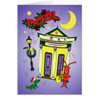 New Orleans Shotgun House Noël Christmas Greeting Card