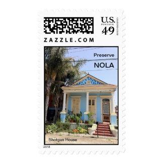 New Orleans Shotgun House Postage Stamps
