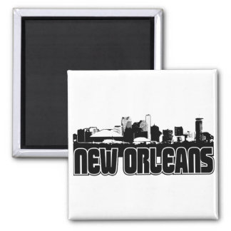 New Orleans Skyline 2 Inch Square Magnet