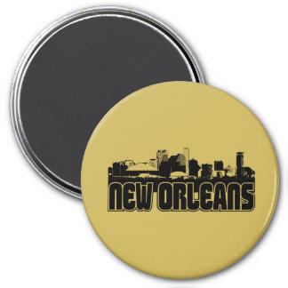 New Orleans Skyline 3 Inch Round Magnet
