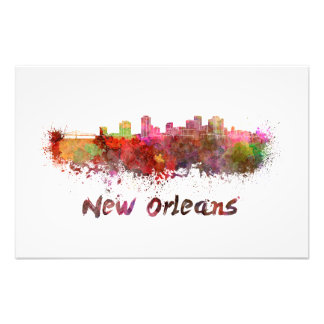 New Orleans skyline in watercolor Photo Print