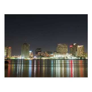 New Orleans Skyline Night Postcard