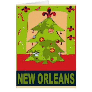 New Orleans Snowman Christmas Tree Card