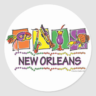 NEW-ORLEANS-SQUARES-eps copy Classic Round Sticker