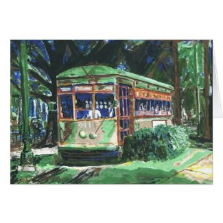 New Orleans St. Charles Ave Streetcar Blank Card card