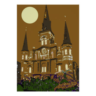New Orleans St Louis Cathedral in Brown Poster