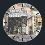 "New Orleans Street Scene Wall Clock<br><div class=""desc"">Here is a nice watercolor scene of a beignet cafe in New Orleans,  on a wall clock.  The clock comes in two round sizes,  or square.  Numerals are black.  Awesome  clock design for the mancave,  to hang over the bar or mantelpiece.</div>"
