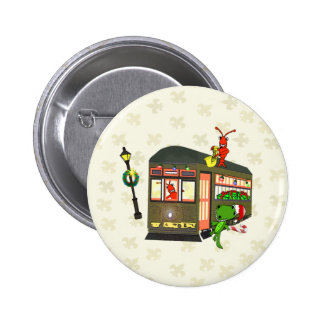 New Orleans Streetcar Crawfish Alligator Christmas Pinback Button