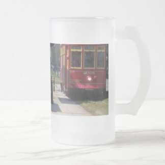 New Orleans Streetcar Frosted Glass Beer Mug