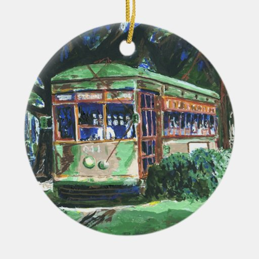 New Orleans Streetcar Double-Sided Ceramic Round Christmas Ornament
