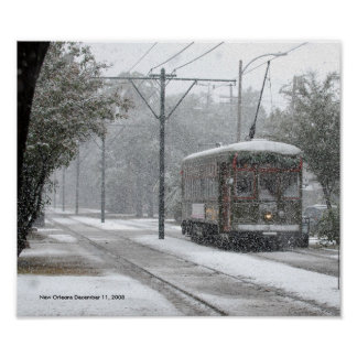 New Orleans Streetcar Snow Poster