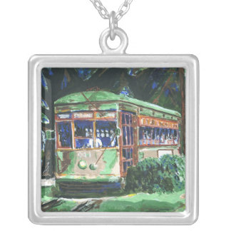 New Orleans Streetcar Square Pendant Necklace