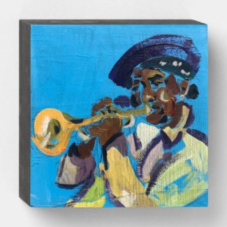 New Orleans Trumpet Player Wooden Box Sign