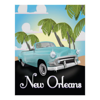 New Orleans vintage travel poster. Poster