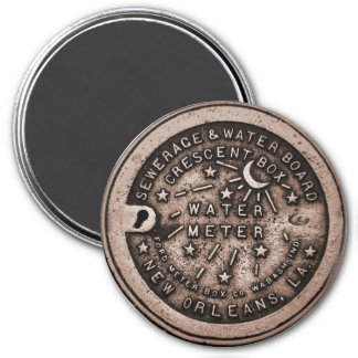 New Orleans Water Meter Cover 3 Inch Round Magnet