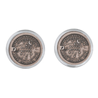 New Orleans Water Meter Cover Silver Cufflinks