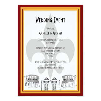 New Orleans Wedding Event Invite (maroon)