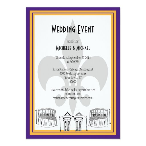 New Orleans Wedding Invitation New Orleans Wedding Event Invite Purple Zazzle
