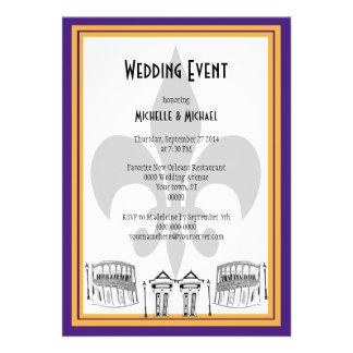 New Orleans Wedding Event Invite purple