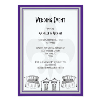 New Orleans Wedding Event Invite (purple/silver)