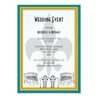 New Orleans Wedding Event Invite (teal)