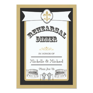 New Orleans Wedding Rehearsal Dinner Black Gold 5x7 Paper Invitation Card