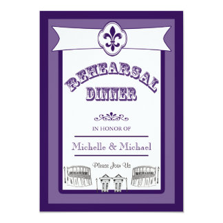 New Orleans Wedding Rehearsal Dinner Purple 5x7 Paper Invitation Card