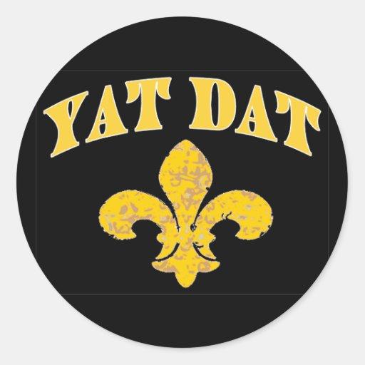 New Orleans Yat Dat Pegatina Redonda