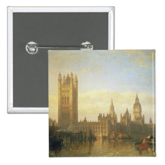 New Palace of Westminster from the River Thames Button