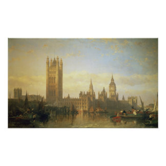 New Palace of Westminster from the River Thames Poster