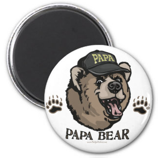New Papa Bear Father's Day Gear 2 Inch Round Magnet