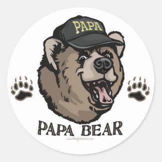 New Papa Bear Father's Day Gear Classic Round Sticker