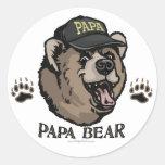 New Papa Bear Father's Day Gear Round Sticker