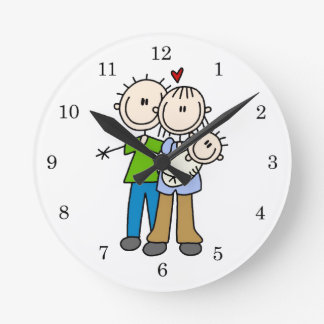 New Parents New Baby T-shirts and Gifts Round Wall Clocks